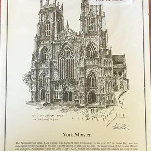 3 Signed Pen and Ink Paintings of York, En…